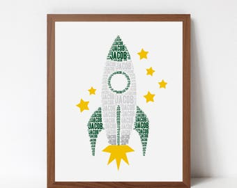 Personalized ROCKET Art Print, Spaceship Wall Art, Space Theme Room Decor, Rocket Poster, Name Art Typography Print, Boys Bedroom Decor