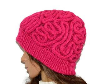 Pink brain hat , Brain Hat, Brain Beanie, thinking cap, Unisex crochet Beanie, Mens Crochet Beanie, Women hat,Beanie, winter Beanie