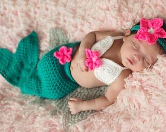 Baby Mermaid Outfit -Baby Mermaid Tail - Baby Mermaid Costume - Baby mermaid set - baby mermaid  cocoon - newborn mermaid costume