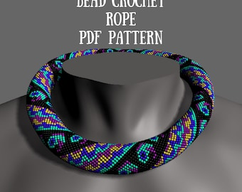 Beaded pattern for seed beads Crochet rope scheme DIY Beaded necklace patterns Beaded bead designer Bead crochet necklace pattern beading