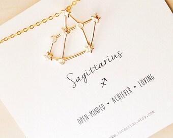 Sagittarius Necklace, sagittarius constellation necklace, gold sagittarius necklace, zodiac constellation necklace, star sign necklace, 14k