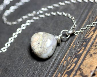 Peruvian Opal Necklace Sterling Silver Gemstone Necklace Rustic Natural Stone Pendant