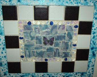 Blue and Purple Butterfly Mosaic Glass Wall Art