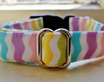 "Easter Stripes - Eco Dog Collar (3/4"" wide)"