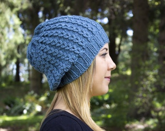 Sky Blue Slouchy Knit Hat - Blue Vegan Hat - Boho Hat - Hipster Hat - Hippie Hat - Womens Tam - Mens Beanie - Unisex Hat - Acrylic Hand Knit