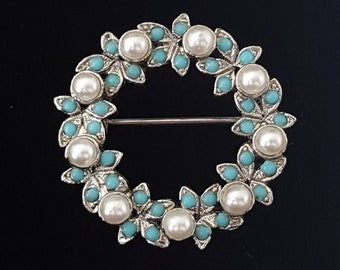 Vintage Beaded Wreath Circle Brooch Pin Silvertone Faux Pearl and Turquoise Blue Beads 1""