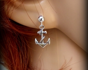 Sterling silver Anchor earrings, Sailors jewelry, navy earrings, earrings of faith, military jewelry