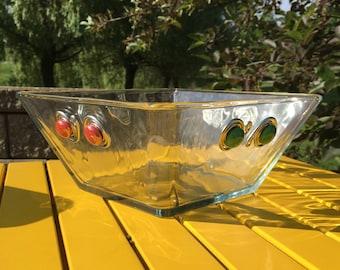 Large Square Glass Salad Bowl, Salad Bowl, Serving Bowl, Beaded Bowl, Hostess Gift, Glass Bowl, Housewarming gift, Multiple Colors