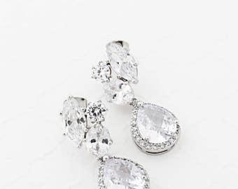 Art Deco Wedding Earrings, Statement Wedding Earrings, Wedding Teardrop Earrings, Cubic Zirconia Earrings, Silver or Gold Glam Bridal Earing