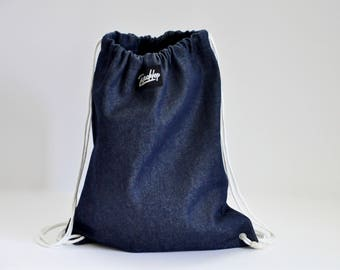 Denim Drawstring Backpack, Cotton 2 Interior Pockets, Unisex Durable