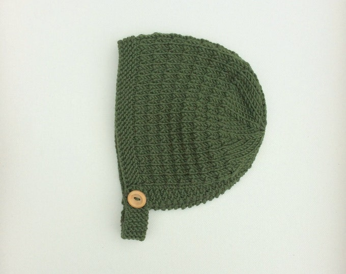 Featured listing image: Merino Wool Tibbie Bonnet - Moss Green - Made to Order
