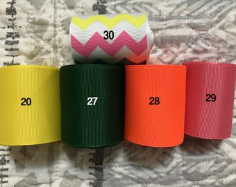 """2 1/4"""" Grosgrain Ribbon--3-yd 5-yd--solid and chevron--hairbows, crafts, gifts, sewing"""