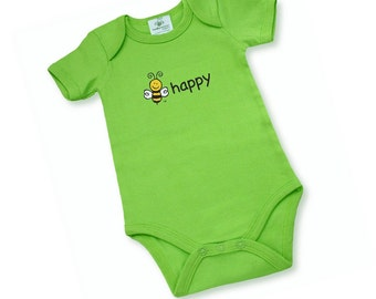 Gender Neutral Baby | Organic Cotton OnePiece | Screen Printed BEE HAPPY | Back Screen Printed BEE | Bright Green | Two Sizes 3 M or 6M