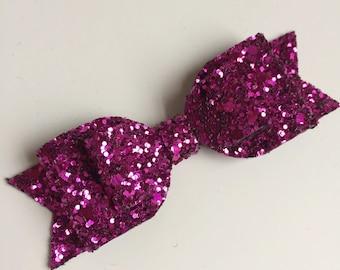 Glitter Bow - Medium Fuchsia