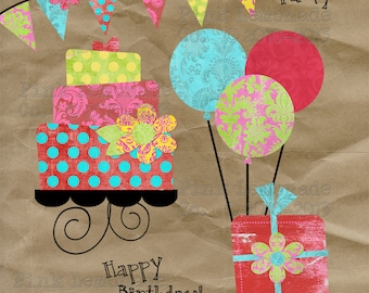 INSTANT DOWNLOAD Friendly Flowers Party Collage Sheet Digital Scrapbook Birthday so bright and cheery graphics