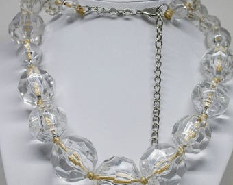 Gorgeous large lucite glass beaded necklace