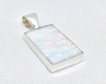 Opal Pendant // White Opal Pendant // Rainbow Opal Pendant // 925 Sterling Silver // Rectangle Shape // Small Size // Opal Jewelry
