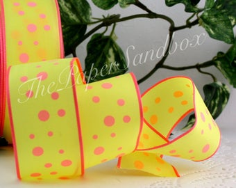 """Wired Neon Pink & Yellow Polka Dot Ribbon, 1.5"""" wide"""