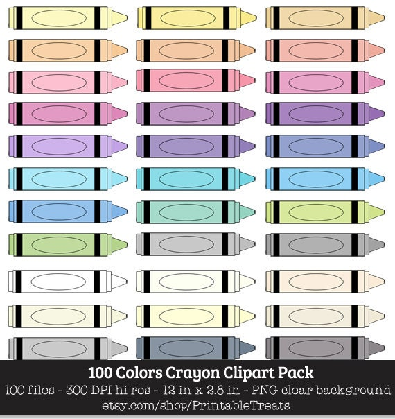 100 Colors Crayon Clipart School Kids Children