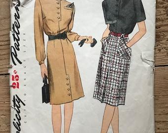 "1940s Dress Pattern Simplicity 1250 Size 14 Bust 32"""