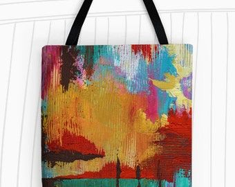 Fire in the Sky Tote Bag. Modern Art Tote Bag, Reusable Bags, Large Tote Bag, Colorful Tote, Travel Bag, Beach Tote, Painting, Modern Art