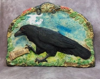Raven Brings a Message ceramic sculpted wall art