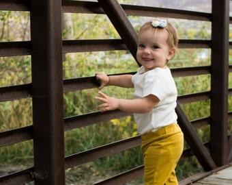 Mustard yellow baby leggings, handmade leggings, mustard knit leggings, fall baby clothes, fall baby leggings