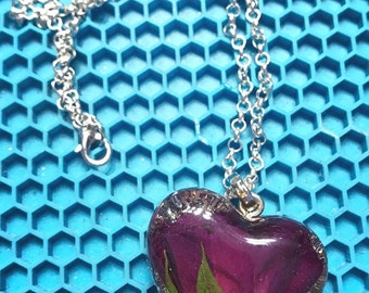Real Rose Resin Necklace