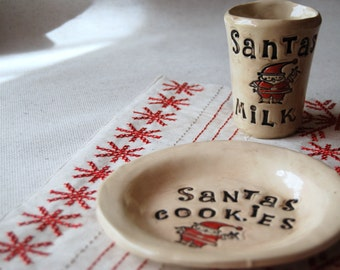 Cookies for Santa plate ,Santa plate , Christmas gift sets, handmade pottery, personalized Santa plate, family Christmas gift, READY TO SHIP