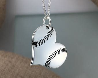 Custom baseball heart necklace, Personalized Necklace, baseball necklace, baseball in heart,Sterling Silver 925