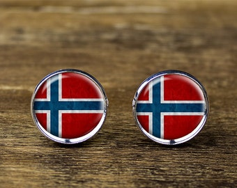 Norwegian flag cufflinks, Norway flag cufflinks, Norway flag jewelry