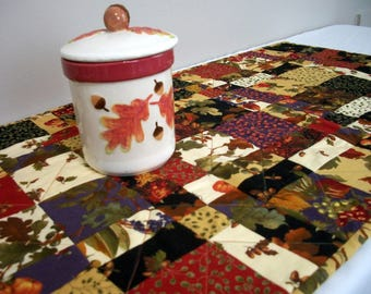 Fall Table Runner Autumn Leaves Foliage Acorns Pumpkins Handmade Quilted Quiltsy Handmade FREE U.S. Shipping