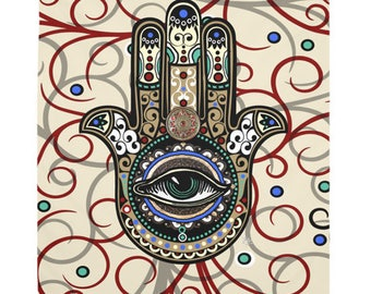 Hamsa Tapestry - Sacred Defender - Evil Eye Protection - Lucky Hamsa Artwork on Lightweight Polyester Fabric
