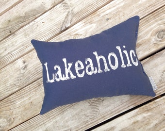 Lakeaholic Pillow - lake house decor, lake house pillow