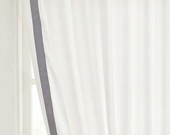 White Curtain with Grey Grosrain Ribbon trimmed curtain - color options