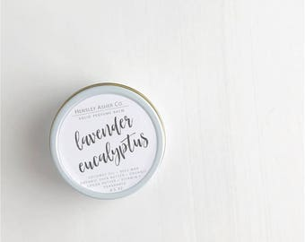 Lavender Eucalyptus Solid Perfume Balm- fragrance - scent-moisturizer- coconut oil- cocoa oil- vitamin e-shea butter-beeswax-salve-Christmas