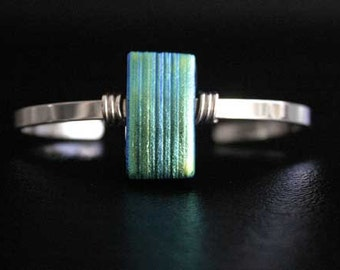 Dichroic Glass and Sterling Silver Glass on Sterling Silver Cuff Bracelet