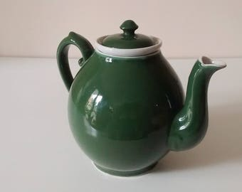 Vintage tea pot with its filter, coffee maker - pine green ceramic - 1970's