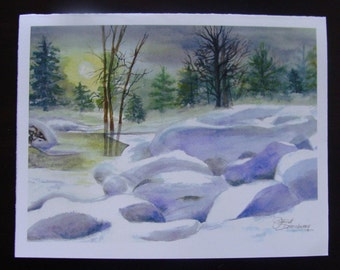 FREE SHIPPING, Winter, Snow, Calm, Sunset, Yellow, Snowy Rocks,, Brook, River,Christmas Card, Fine Art Watercolor Print by Janet Dosenberry