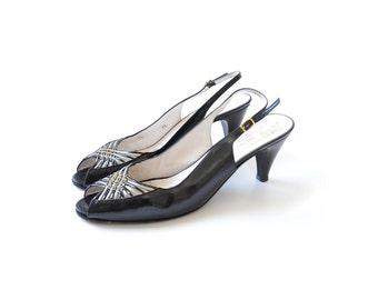 Black heels, black pumps peep toe shoes open toe shoes black high heel shoes leather designer shoes, size 9 vintage shoes, Bruno magli shoes