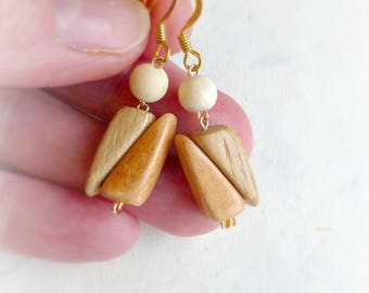 Earthy tone earrings Eco wood earrings , Natural wood jewelry , Dangle drop wooden earrings , Neutral jewelry gift idea Gift for mothers