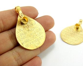 Large round gold pendant 22k gold plated minimalist jewelry disc 1 pc gold islamic pendant 38mm x 25mm gold islamic jewelry pendants 24k matte gold plated islamic pray pendants gps 128 aloadofball Images