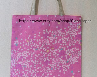 Handmade, tote bag, Sakura(Cherry blossom) design, 11 in x 12.6in (28cm x 32cm) , tenugui, inside pink color, No.2