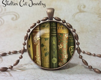 "Library Book Necklace - 1-1/4"" Book Pendant or Key Ring - Handmade Book Jewelry - Gift for Librarian, Teacher, Writer, Book Lover"
