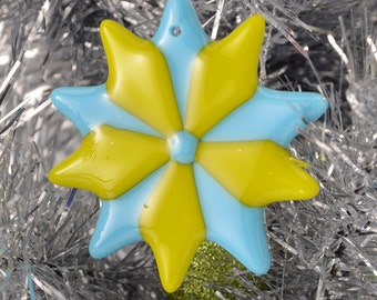 Turquoise Christmas ornament, Glass ornaments, christmas tree decoration, Mother's Day gift, star  decor, package decoration, handmade