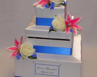 White Royal Blue WeddingCard Box- silk flowers