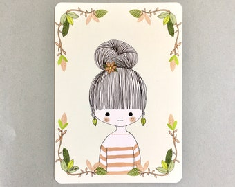 "Illustrated postcard ""Bun"", decorative stationery"