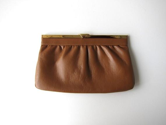 80s Caramel Brown Leather Clutch Small Leather Handbag Vintage Minimal Leather Hand Bag Minimalist Purse Modern Supple Bag