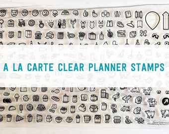 planner stamps, bullet journal stamps, clear planner stamps, planner supplies, planner Icons, planner icon stamp, PCNO2, PICK 5 (A la Carte)
