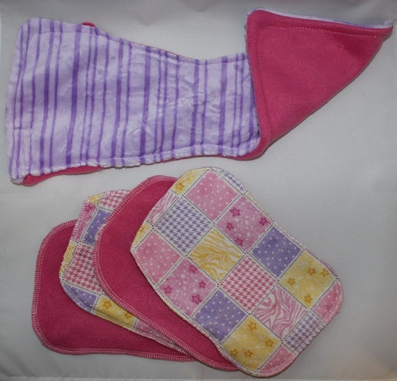 Girls Cloth Wipes with Contoured Burp Cloth
